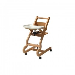 Chaise haute bébé à roulettes - Hêtre clair