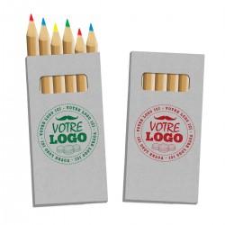 Boîte personnalisée de 6 crayons de couleur, goodies publicitaires pour enfant
