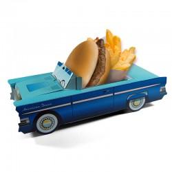 Boîte pour menu enfant Cadillac bleu, welcome family