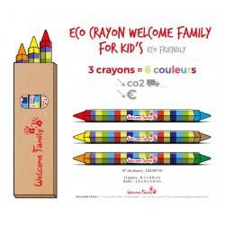 Boîte de 3 crayons gras 6 couleurs, crayons cire pour restaurant, crayons pour menu enfant, coloriage menu enfant
