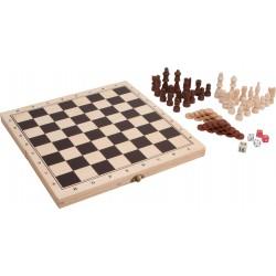 Assortiment de jeux dans un coffre en bois - Jeu de société pour hôtel, camping, club de vacances, restaurant