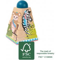 Pyramide à empiler jungle, jeu pour l'accueil des enfants par les professionnels CHR