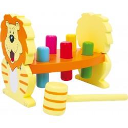 Banc à marteler Lion, jouet pour l'accueil des enfants dans les CHR