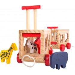 Train en bois avec animaux à encastrer, jeu d'accueil enfant
