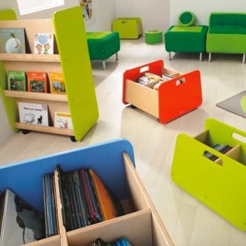 Étagère présentoir, mobilier enfant pour hôtel, restaurant, école