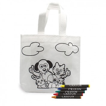 Tote bag animaux à colorier, produit d'accueil loisirs créatifs enfant pour les CHR