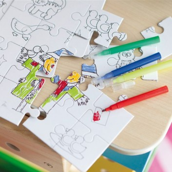 Puzzle to colour, surprise toy for children in hotels and restaurants