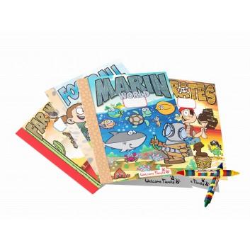 Conjunto de cadernos de colorir e lápis de cera