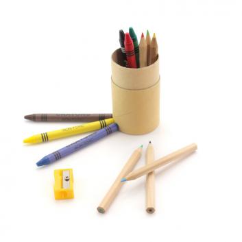 Tube en kraft de 12 crayons, cadeau d'accueil enfant
