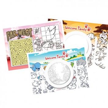 Set de table à colorier pour les enfants dans les hôtels, restaurants