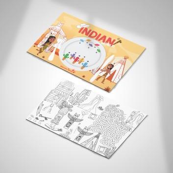 Set de table à colorier Indian