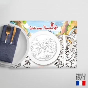Set de table à colorier Dinosaures, jeu menu enfant sans plastique
