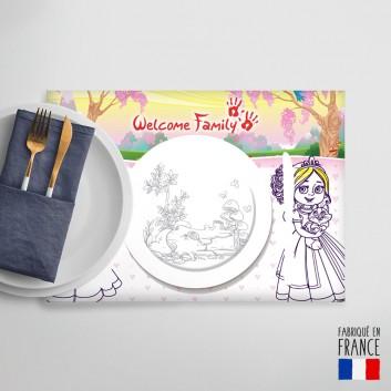 Set de table à colorier Princesses, jouet pour menu enfant sans plastique