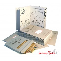 Lot cahiers de coloriage et crayons personnalisés, pour menu enfant et offre accueil enfant, hôtel et restaurant